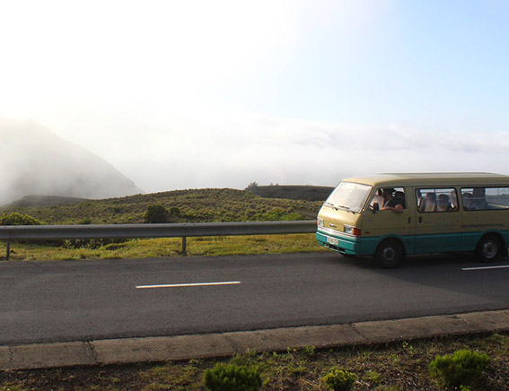 Our Island's Mazda van at Costado da Nau. Faial half day includes the main attractions.
