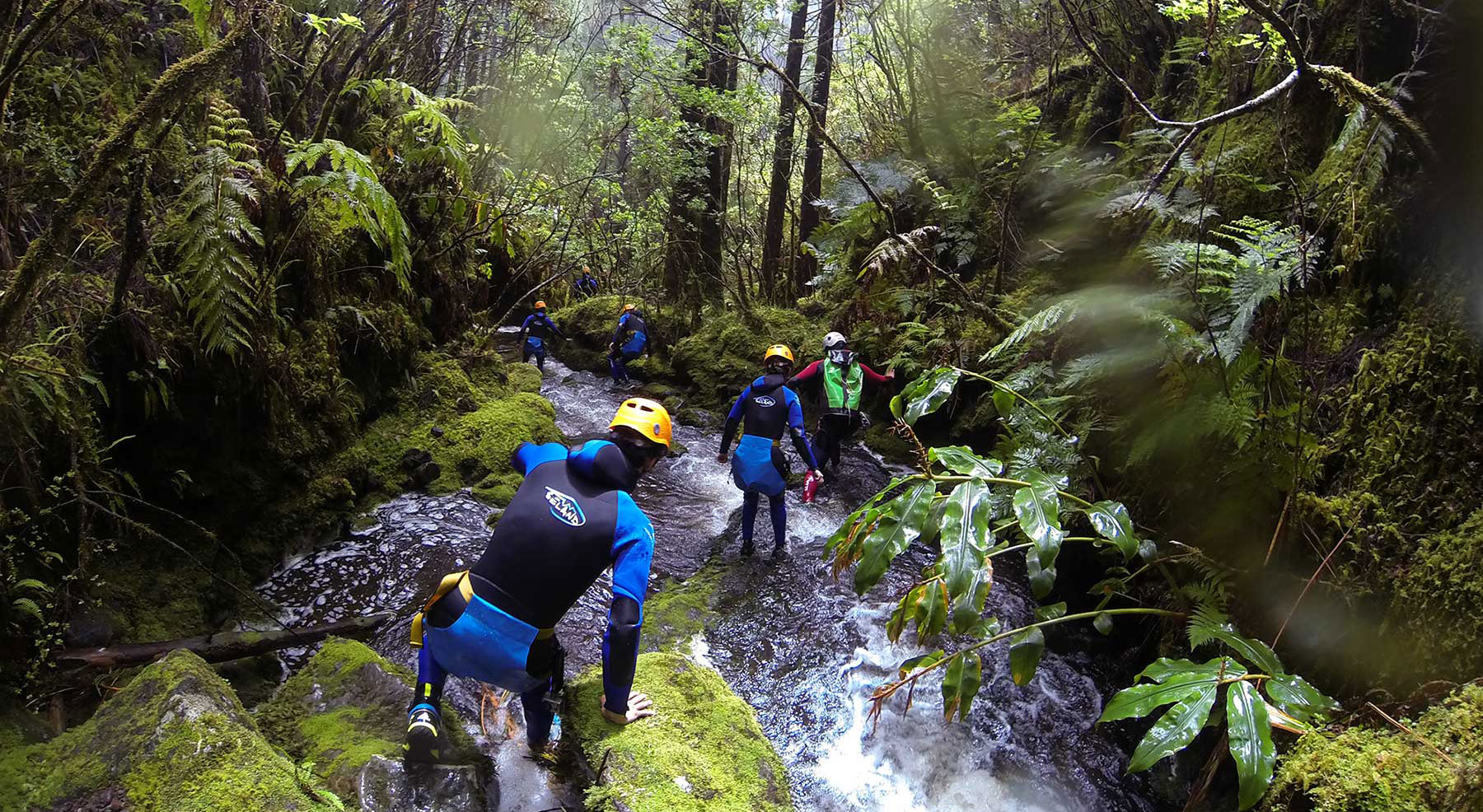 People doing canyoning in the water line. Canyoning is a leisure activity