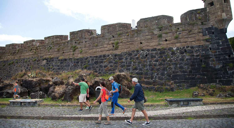 Santa Cruz fort in Horta. Walking tour trough the city of Horta.
