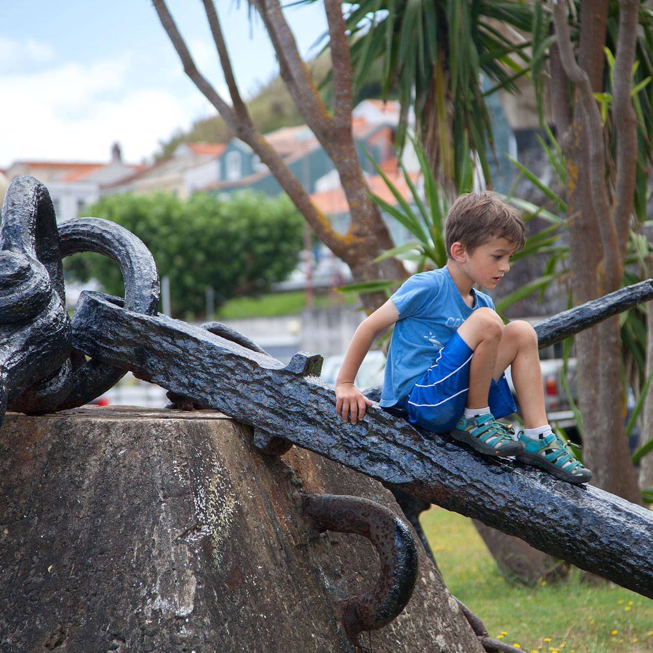 young boy having fun