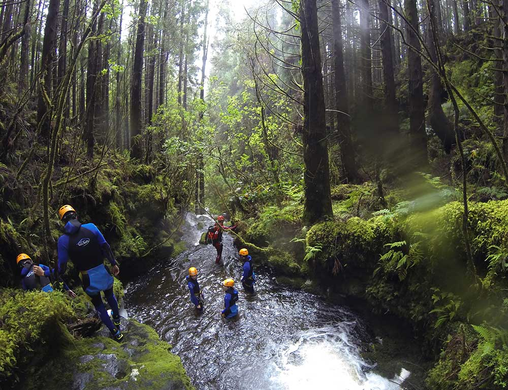 Canyoning in Faial island waterlines